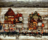 Egon Schiele - Houses with colourful washing (suburb II)