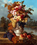 Claudius Dubiez - Still Life with Roses, Grapes and Peaches