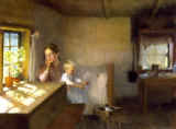Albert Gustaf Aristides Edelfelt - A Woman and Child in a Sunlit Interior
