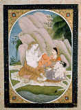 Indische Miniatur - Family of Shiva / Indian miniature