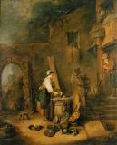 Jean Antoine Watteau - The cook. Canvas,53 x 44 cm Musee des Be