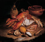Giacomo Ceruti - Still life with herring, lobster, turbots, barbs, oysters, lemon, radish, carrots, onion, clay bowl with spoon and wine bottle