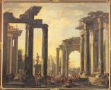 Giovanni Ghisolfi - Ancient ruins with the Raising of Drusiana