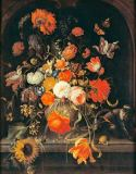 Abraham Mignon - Flower still life with insects, snails and a monkey