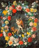 Filippo Lauri - Pan and Syrinx, framed by a wreath of flowers
