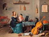 David Teniers - The wife and son of the artist