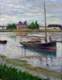 Gustave Caillebotte - Anchored Boat on the Seine Seine in Argenteuil