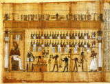 Ägyptische Malerei - Judgement in Underworld/ Egyp. papyrus
