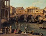 Giovanni Antonio Canaletto - Capriccio with the Ponte di Rialto in Venice after design by Andrea Palladios and the Basilica in Vicenza