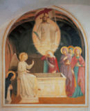 Fra Angelico - The resurrected Christ, the three women by the tomb and Saint Dominic