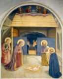 Fra Angelico - Birth of Christ, with the Saints Catherine of Alexandria and Peter the Martyr