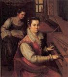 Lavinia Fontana - Selfportrait at a spinet with servant