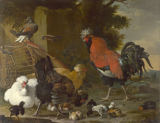Melchior de Hondecoeter - A Cock, Hens and Chicks