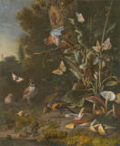 Melchior de Hondecoeter - Four bullfinches are identifiable, one above centre, the other three below