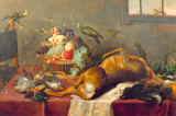 "Paul de Vos - ""Hunting Still Life with Killed Stag, Fruit Basket, Winged Game and Birds"