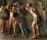 Lovis Corinth - Diogenes seeks an honest man with his lamp during broad daylight