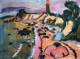 Ernst-Ludwig Kirchner - Coast of Fehmarn with lighthouse