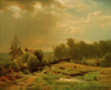 Andreas Achenbach - Hilly landscape with lightning begins