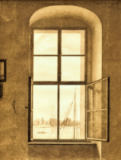 Caspar David Friedrich - View from the studio of the artist (right window)