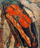 Chaim Soutine - Still life with Violin, Bead and Fish