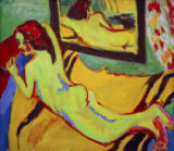 Ernst-Ludwig Kirchner - Reclining nude in front of a mirror