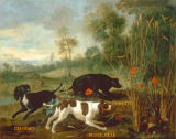 Jean-Baptiste Oudry - Three spaniels of Louis XV