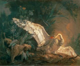 Jean-Baptiste Oudry - Water spaniel attacking a swan in its nest