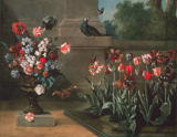 Jean-Baptiste Oudry - Bed of tulips a. vase with flowers in front of a wall
