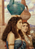 Sir Edward John Poynter - Water Carriers of the Nile, 1862.  Watercolour, 32.5 × 24cm.  London, Sotheby's.  Lot 35, 26/11/86