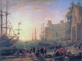 Claude Lorrain - Ideal harbour view with Medici villa
