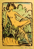 Otto Mueller - On the banks sitting girl (nude in the reeds) to 1922/26