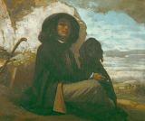 Gustave Courbet - Self-portrait with black dog