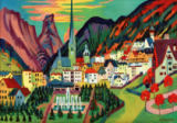 Ernst-Ludwig Kirchner - Davos with Church. Davos in summer
