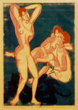 Ernst-Ludwig Kirchner - Three nudes and lying man