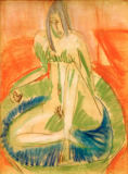 Ernst-Ludwig Kirchner - Seated Female Nude in `Tub '