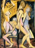 Otto Mueller - Three nudes in front of the mirror