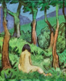 Otto Mueller - Seated Nude with trees