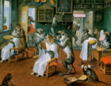 Abraham Teniers - Barber's shop with Monkeys and Cats