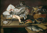 Alexander Adriaenssen - STill Life with Fishes, Seafood, Poultry and Cat