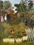 Henri J.F. Rousseau - Exotic Landscape with monkeys and a parrot