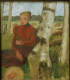 Paula Modersohn-Becker - Seated Woman on birch trunk with flock of sheep