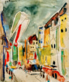 Ernst-Ludwig Kirchner - Street scene with flags