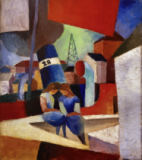 August Macke - Port picture with children on the wall: the Port of Duisburg