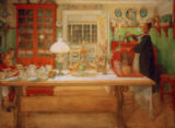 Carl Larsson - Preparations for a small ('Vira ') game
