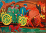 Ernst-Ludwig Kirchner - Horse-drawn cart with three farmers