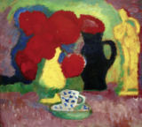 Alexej von Jawlenski - Still life with red flowers (yellow figure and cup)