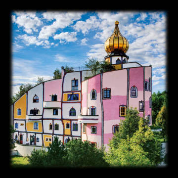 Thermendorf, Bad Blumau of artist Friedensreich Hundertwasser as framed image