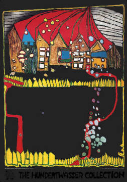 Houses in the Snow of artist Friedensreich Hundertwasser, Too, Red, Off, Way, Path, Walk, Rain, Well
