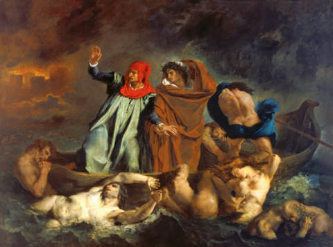 Dante (1265-1321) and Virgil (70-19 BC) in the Underworld, 1822 of artist Eugène Delacroix, Oil, Arts, Hell, Boat, Poets, World, Divine, French