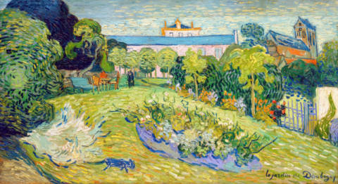 Garden and house of the artist in Auvers, France of artist Vincent van Gogh as framed image